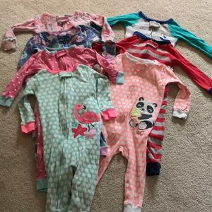 Set of 7 carter's footless 9-12 month pajamas